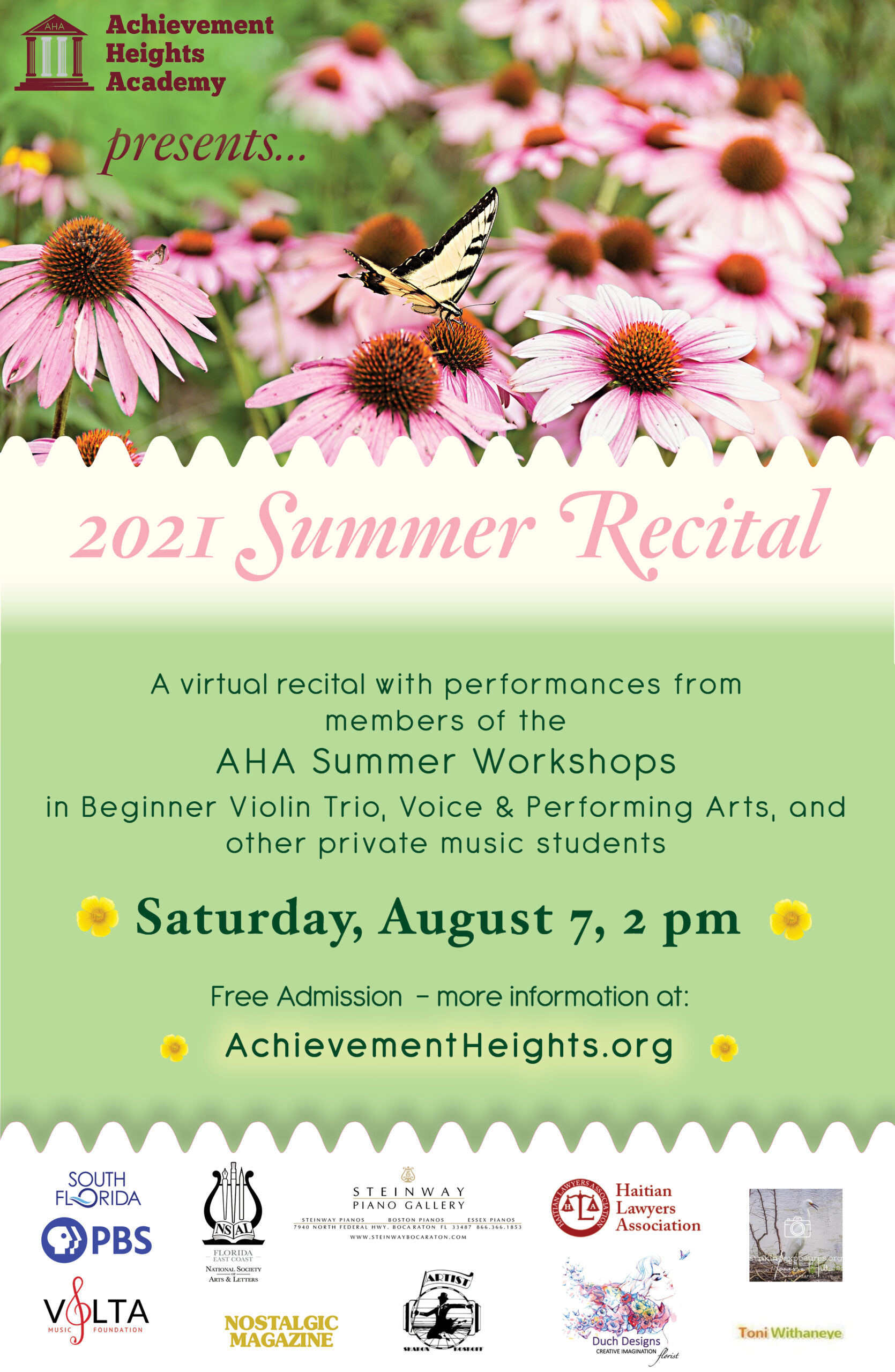AHA summer recital flyer facebook email